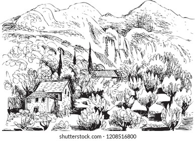 landscape mountain sky ship sketch stock illustration 305697662 1980s House black and white drawing of a mountainous landscape