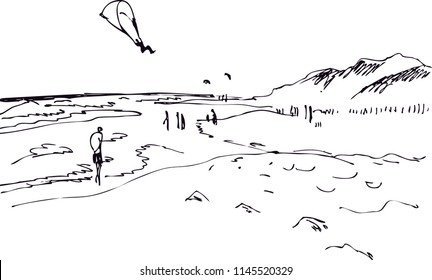 Black and white drawing of a seaside landscape with a dune and paragliders