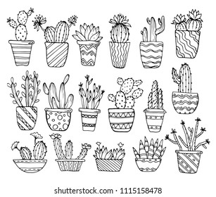 Black and white drawing, sketch, doodle. Cactus, houseplants, flowers, succulents in pots on a white background