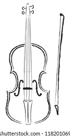 Black and white drawing of a violin