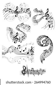 Black and white drawings of swirling musical scores and notes with clefs and overlay over grey designs for decorative design elements
