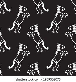 Black and white drawn stick figure of cowboy horse clip art. Wild masculine stallion for monochrome folk icon sketchnote or illustrated scrapbook vector silhouette motif.