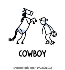 Black and white drawn stick figure of cowboy horse text. Wild masculine stallion for monochrome folk icon sketchnote or illustrated scrapbook vector silhouette motif.