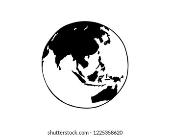 black and white earth line art