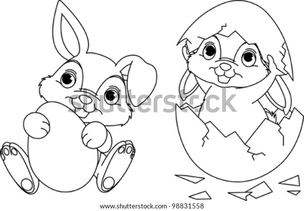 Black White Easter Bunny Coloring Page Stock Vector (Royalty ...