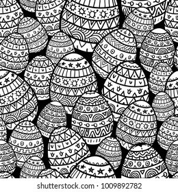 Black and White Easter Pattern in Doodle Style. Mix of Decorated Eggs. Vector Illustration