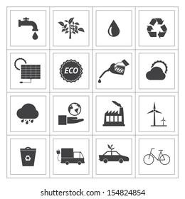 Black and White Eco icons set.