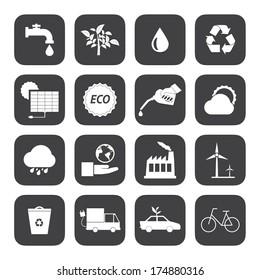 Black and White Eco icons set 2