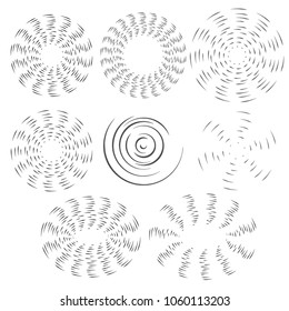 The black and white effect of the rotating fan propeller. Vector selection of round design elements on white isolated background.