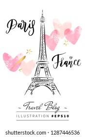 Black and white Eiffel Tower urban sketch with pink hearts romantic background for female travel blog instagram story.