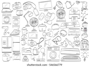Black and white electronic products. Isolated drawing household products. Doodle Home appliance