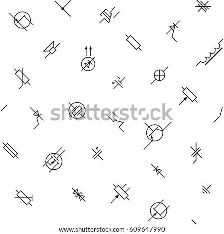 Black White Electronics Circuit Components Symbols Stock Vector