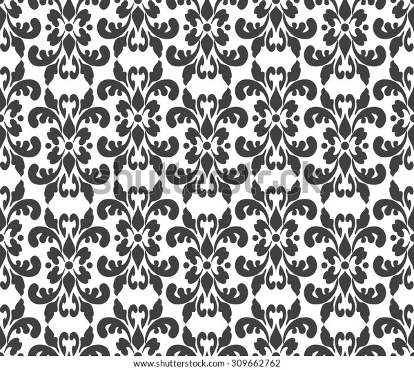 Black White Elegant Damask Wallpaper Vintage Stock Vektorgrafik