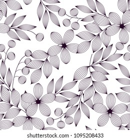 Black and white elegant leaves and flowers and berries seamless pattern, vector