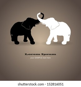 Black and white elephants in love
