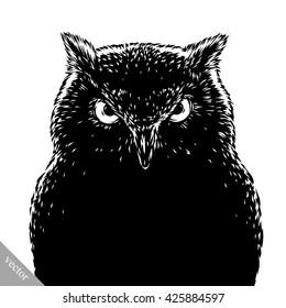 black and white engrave evil vector owl bird