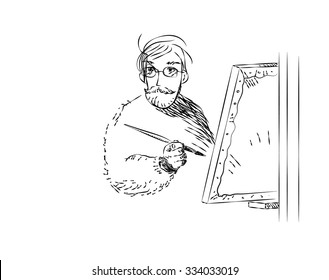 black white engraving illustration of a painter at work