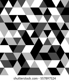 A black and white Equal side Triangle Pattern Vector Seamless Background