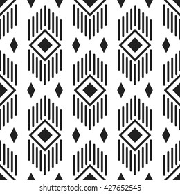 Black and white ethnic geometric lines and rhombuses seamless pattern. Monochrome abstract geometry continuous print.
