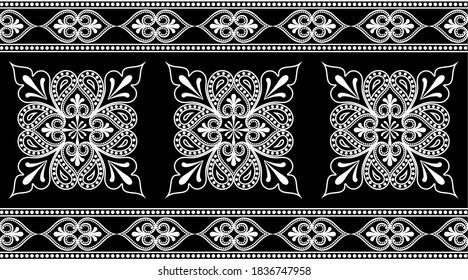 Black white ethnic pattern border on black background.EPS10 Illustration.