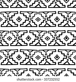 Black and white ethnic South America abstract vector seamless pattern. Mexican, peru or aztec motifs