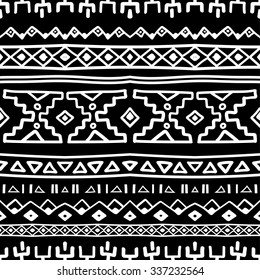 Black and white ethnic South America abstract stripe vector seamless pattern. Mexican, peru or aztec motifs