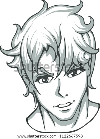 Black White Expressive Charismatic Anime Male Stock Vector Royalty