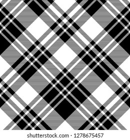 Black and white fabric texture check seamless pattern. Vector illustration.