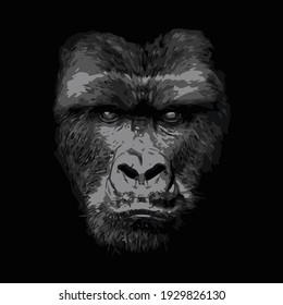black and white face of a brafe gorila