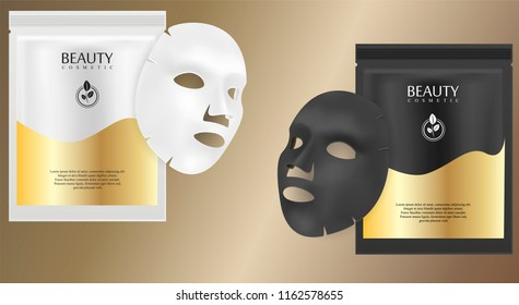Black and white facial cosmetic mask ads. Realistic vector illustration. Individual sachet package design with label and logo for face mask isolated on metallic background.