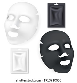 Black and white facial cosmetics mask. 3D Realistic vector illustration. Package design for face mask isolated on white background.