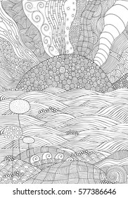 Black and white fantasy picture with flowers, sun and sea shore. Pattern for adult Coloring book. Sunlight. Eco theme. Hand-drawn, ethnic, doodle, vector, zentangle.