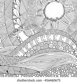 Black and white fantasy picture.The hot sun, the beautiful landscape, the trees. Sunlight. Mountains and plains. Pattern for Coloring Book. Hand-drawn, ethnic, doodle, vector, zentangle.