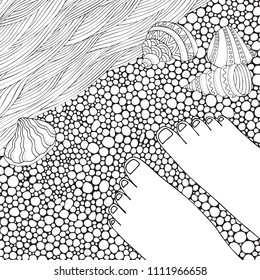 Black and white fantasy picture with sun and sea shore. Bare feet. Beach landscape. Pattern for adult Coloring book page. Hand-drawn, doodle, zentangle.