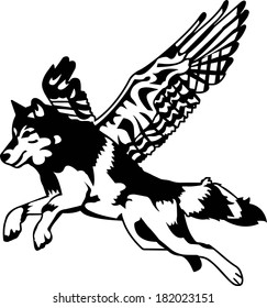 Black and White Fantasy Wolf Dog with Wings Vector