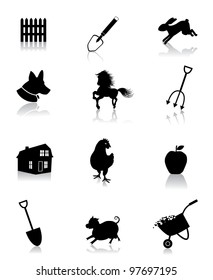 Black and White Farming Icons Symbol Set EPS 8 vector, grouped for easy editing. No open shapes or paths.