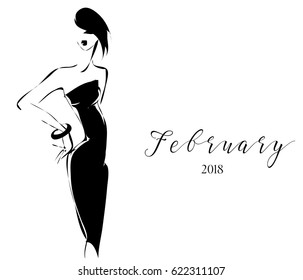Black and white fashion calendar with woman model silhouette logo. Hand drawn vector illustration background