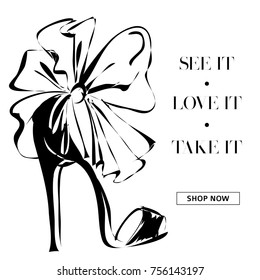 black and white fashion high heels shoes promo banner, online shopping social media ads web template with beautiful heels. Vector illustration art
