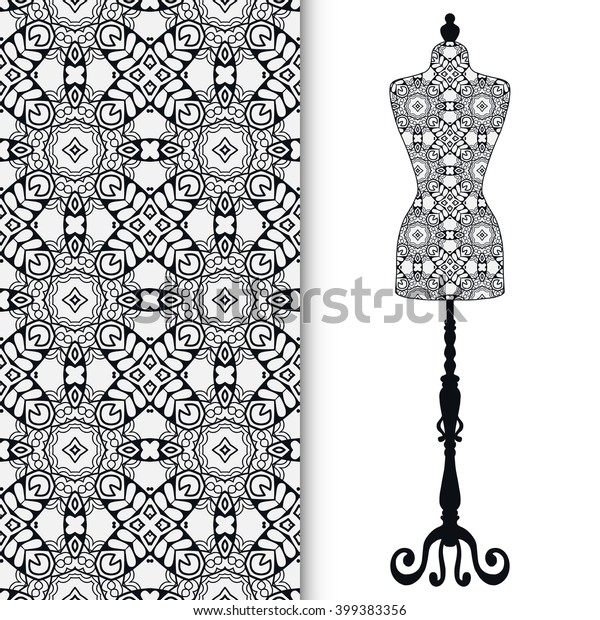 Black White Fashion Illustration Vintage Tailors Stock Vector Royalty Free 399383356