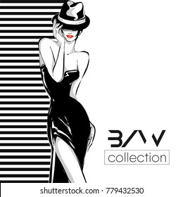 Black and white fashion logo with woman model silhouette. Hand drawn vector illustration background art