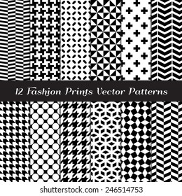 Black and White Fashion Prints Patterns. Houndstooth, Herringbone, Triangle, Cross, Lattice, Polka Dot and Chevron Geometric Backgrounds. Vector EPS Includes Pattern Swatches Made with Global Colors.