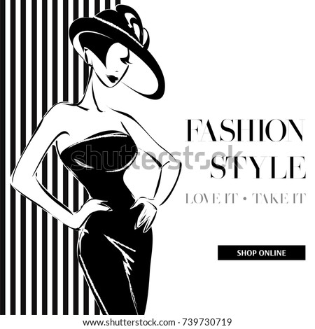 c7603db57007c Black White Fashion Sale Banner Woman Stock Vector (Royalty Free ...