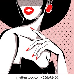 Black and white fashion woman portrait, vector illustration