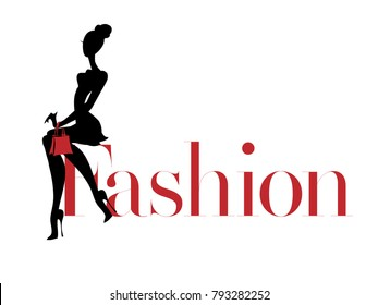 Black and white fashion woman silhouette with red bag, boutique logo, sale banner, shopping advertising. Hand drawn vector illustration art background
