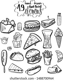 Black and white fast food vector hand drawn doodle elements for restaurant and cafe menu design.