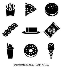 Black and White Fatty Food Icons