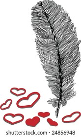 black and white feather illustration with red hearts