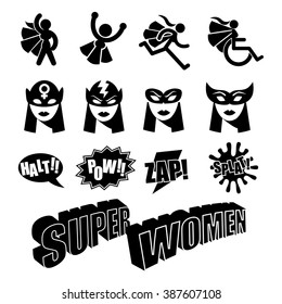 Black and white female superhero icons symbol collection. EPS 10 vector.