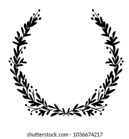 Black and white festive wreath. Hand drawn floral elements. Silhouette laurel wreath. Vector illustration.