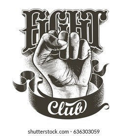 Black and white fight club label with fist. Vintage vector engraved illustration.